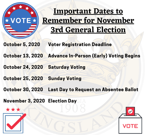 Important Dates to Remember for November 3rd General Election