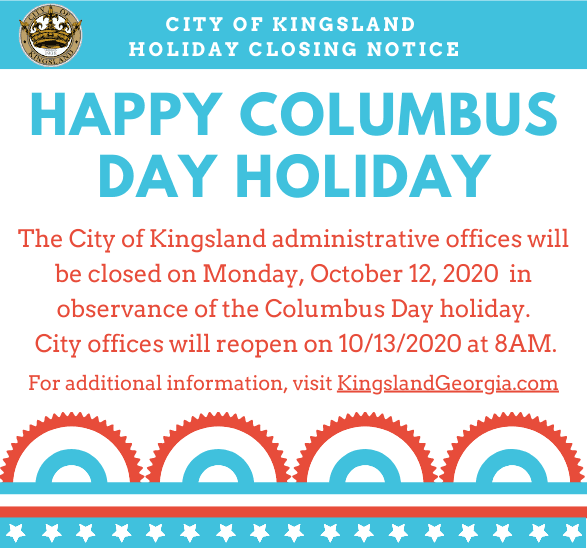 Columbus Day Holiday Closing Notice (2020)